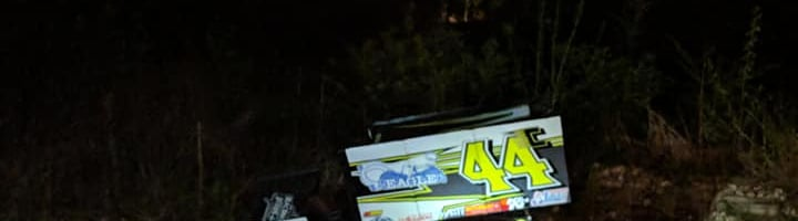 Chase Howard's sprint car trailer was temporarily lost in a ditch