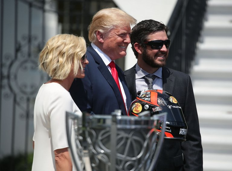 Donald Trump, Martin Truex Jr and Sherry Pollex at the White House