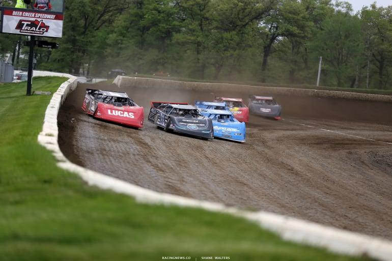 Earl Pearson Jr, Scott Bloomquist and Hudson O'Neal at Deer Creek Speedway 6974