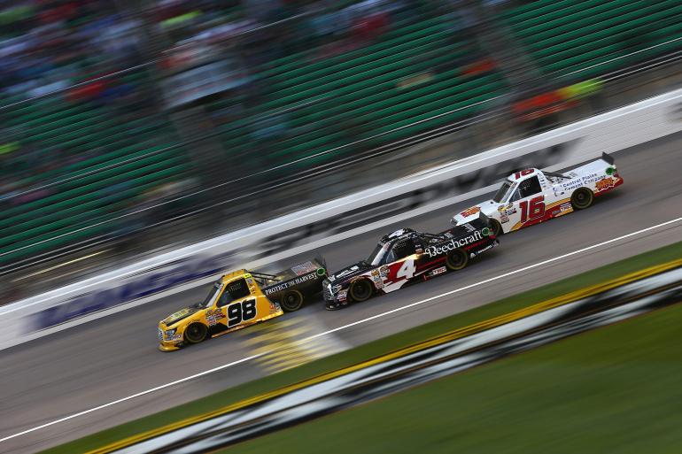 Grant Enfinger, Kyle Busch and Brett Moffitt at Kansas Speedway