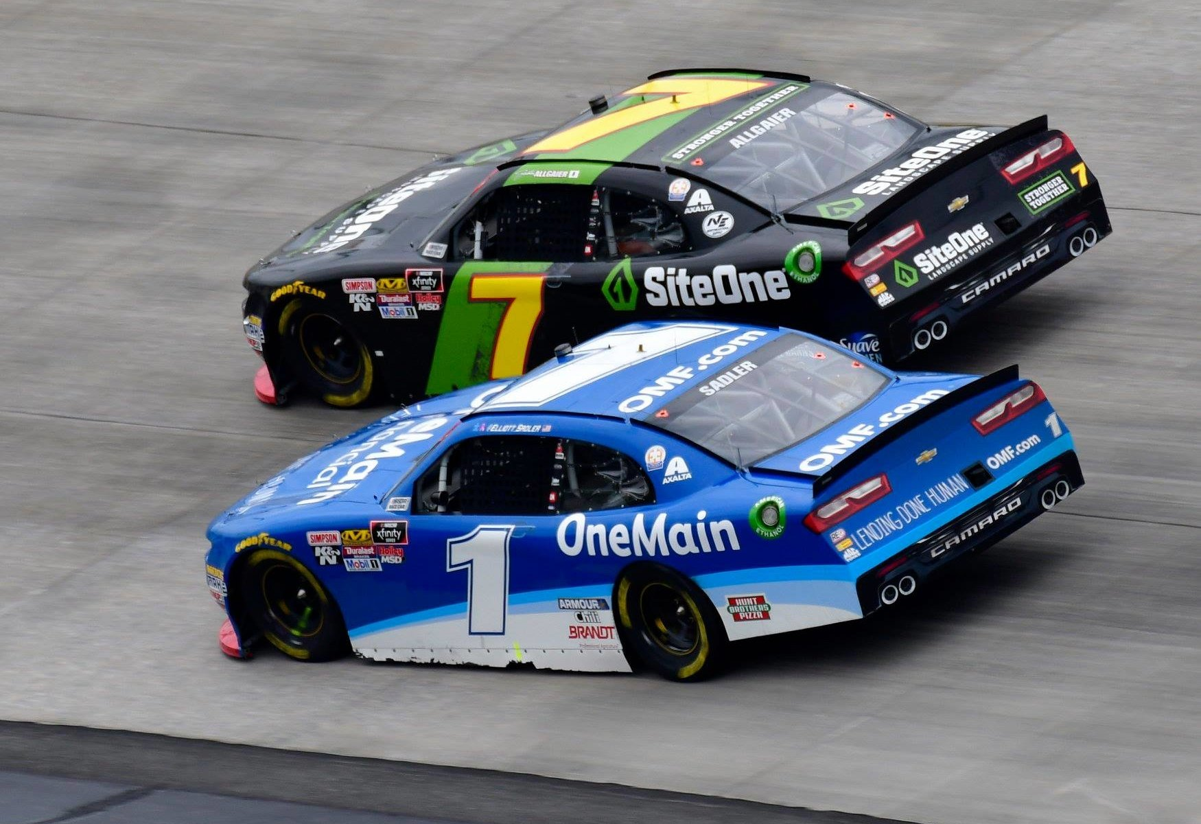 Justin Allgaier and Elliott Sadler at Dover International Speedway