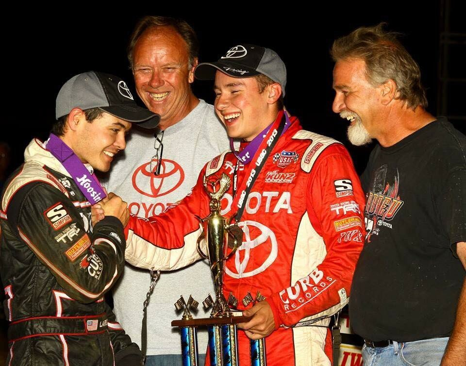 Kyle Larson, Christopher Bell and Keith Kunz