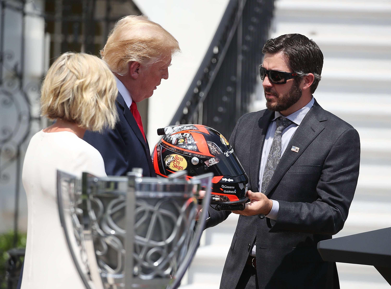 Martin Truex Jr gifts donald Trump with a NASCAR helmet