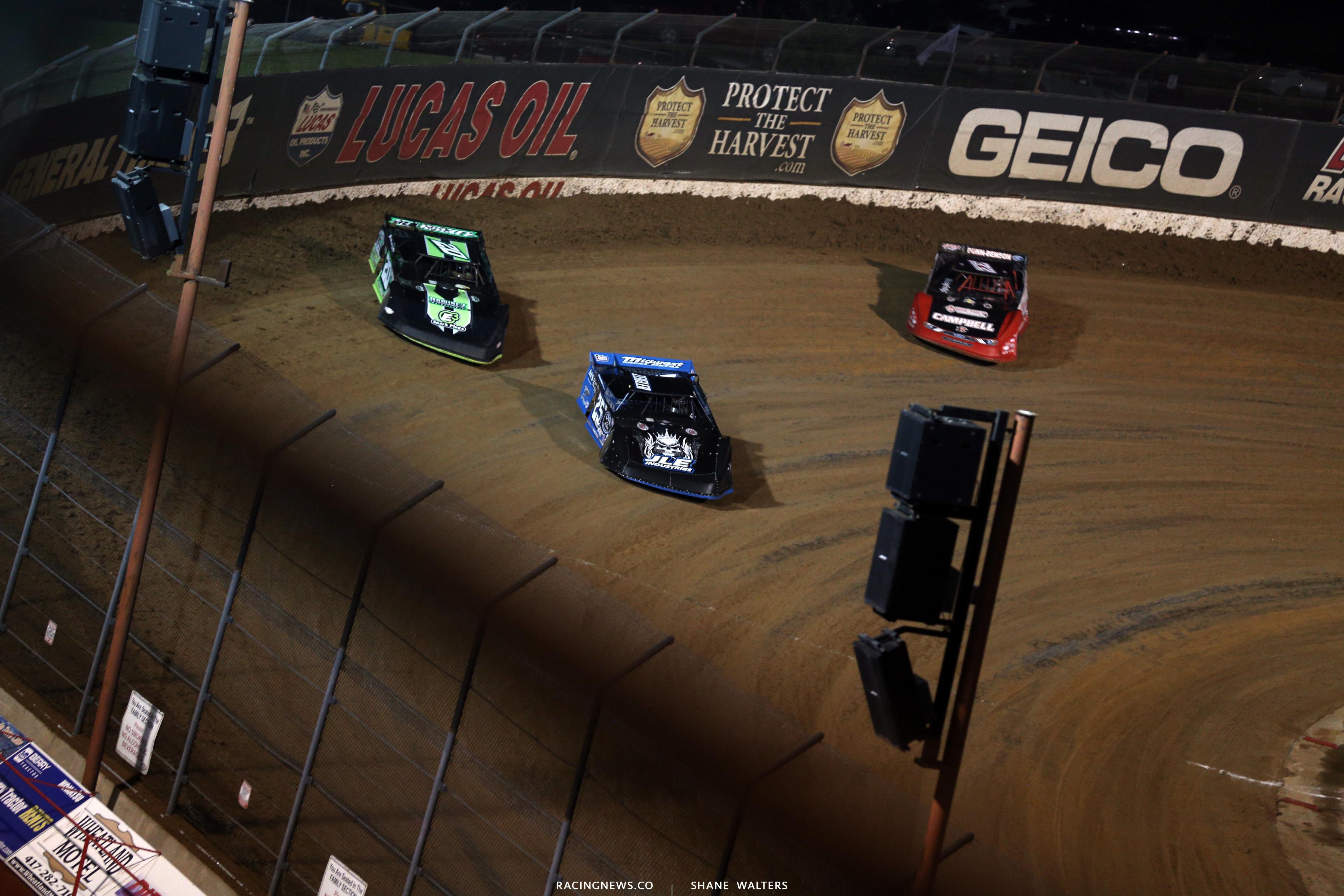 Mason Zeigler, Jimmy Owens and Bobby Pierce at Lucas Oil Speedway 8513