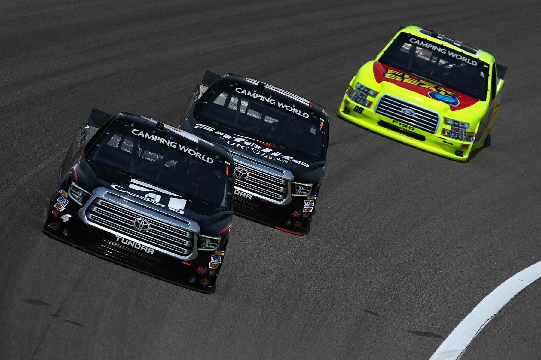 Noah Gragson, Kyle Busch and Matt Crafton at Kansas Speedway