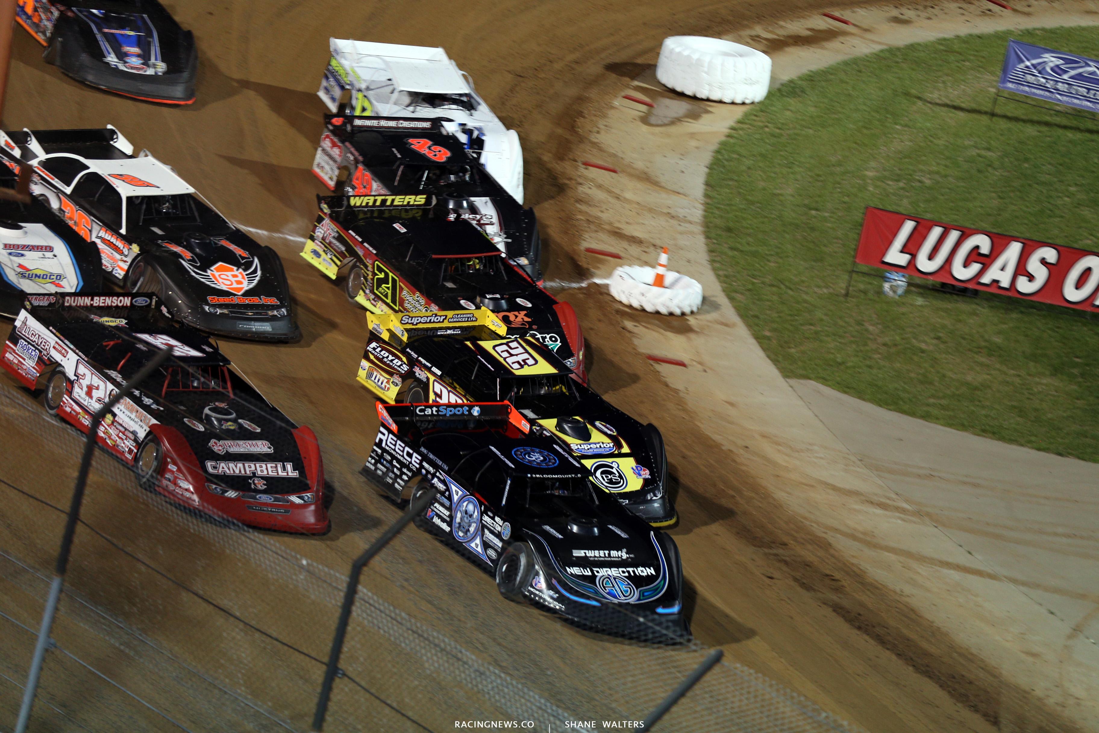 Scott Bloomquist, Bobby Pierce, Chris Simpson, Billy Moyer Jr at Lucas Oil Speedway 7760