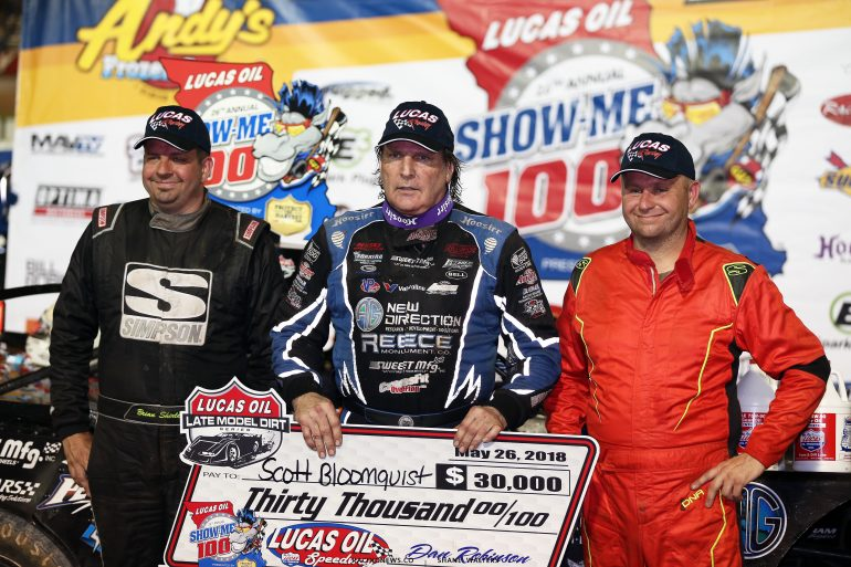 Scott Bloomquist, Brian Shirley and Mike Marlar in the Show-Me 100 9179