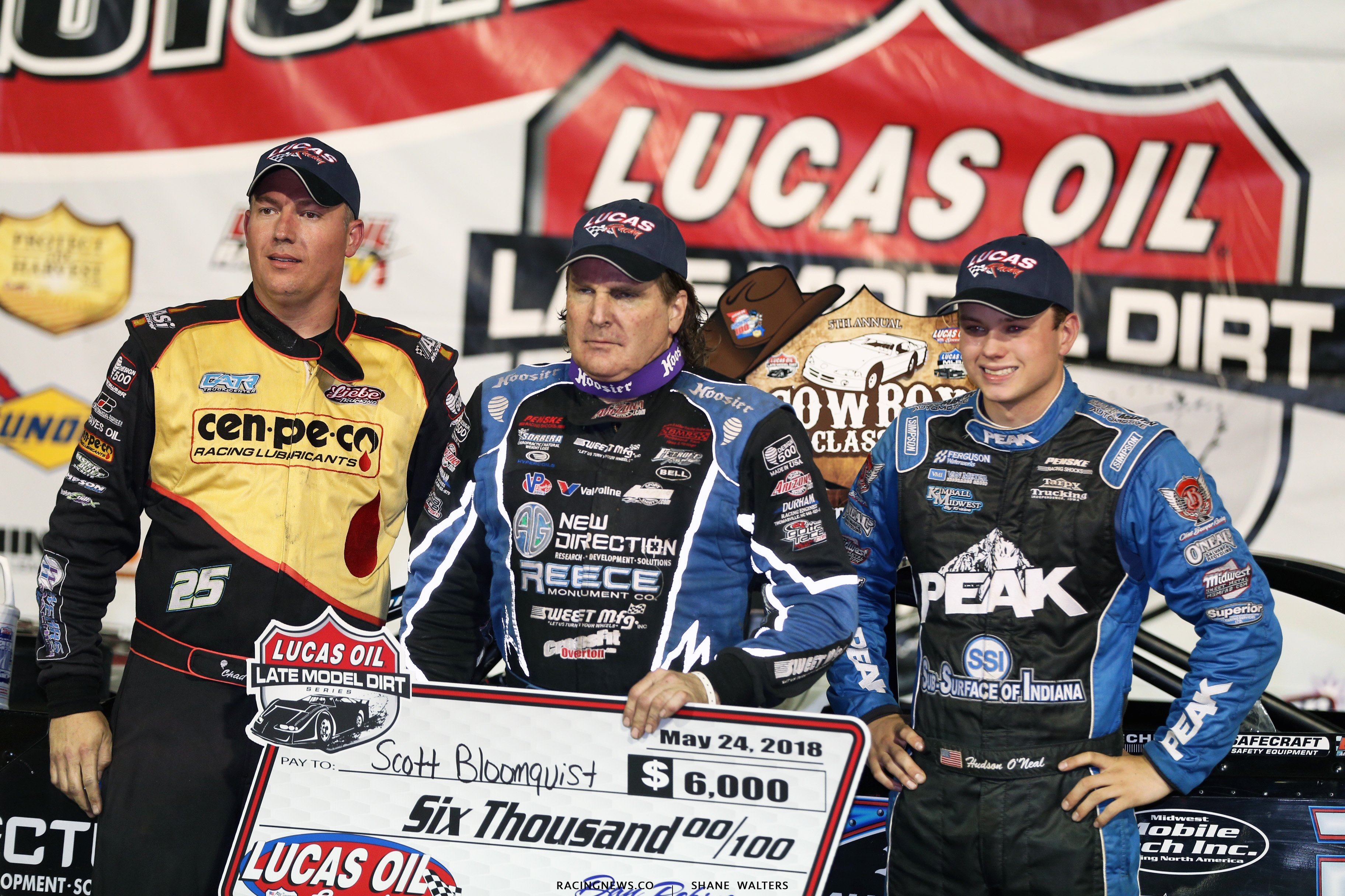 Scott Bloomquist, Chad Simpson and Hudson O'Neal at Lucas Oil Speedway 7965