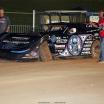 Scott Bloomquist breaks the left front wheel at Lucas Oil Speedway 8444