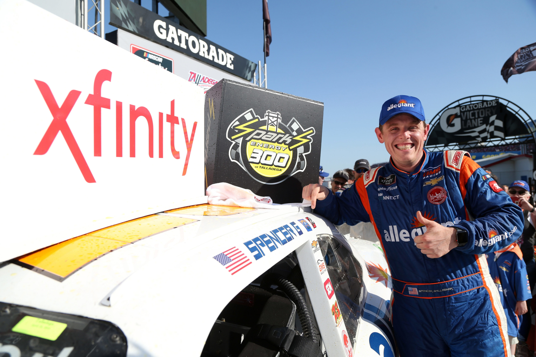 Spencer Gallagher wins the NASCAR Xfinity Series event at Talladega Superspeedway