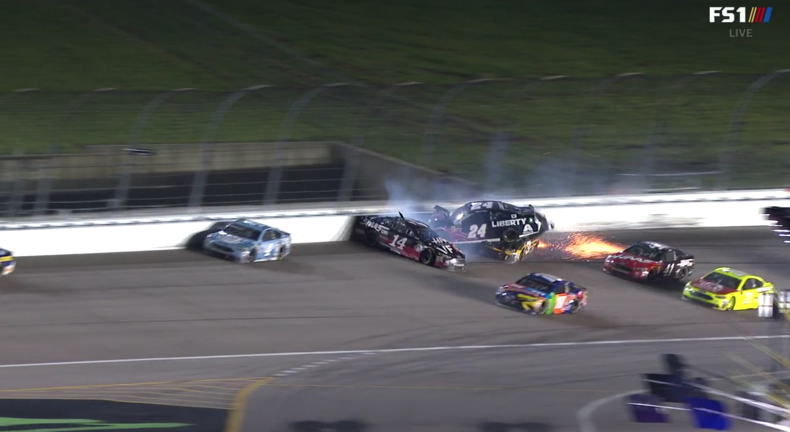 William Byron and Clint Bowyer crash at Kansas Speedway