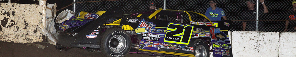 Billy Moyer hit the pit gate opening at LaSalle Speedway