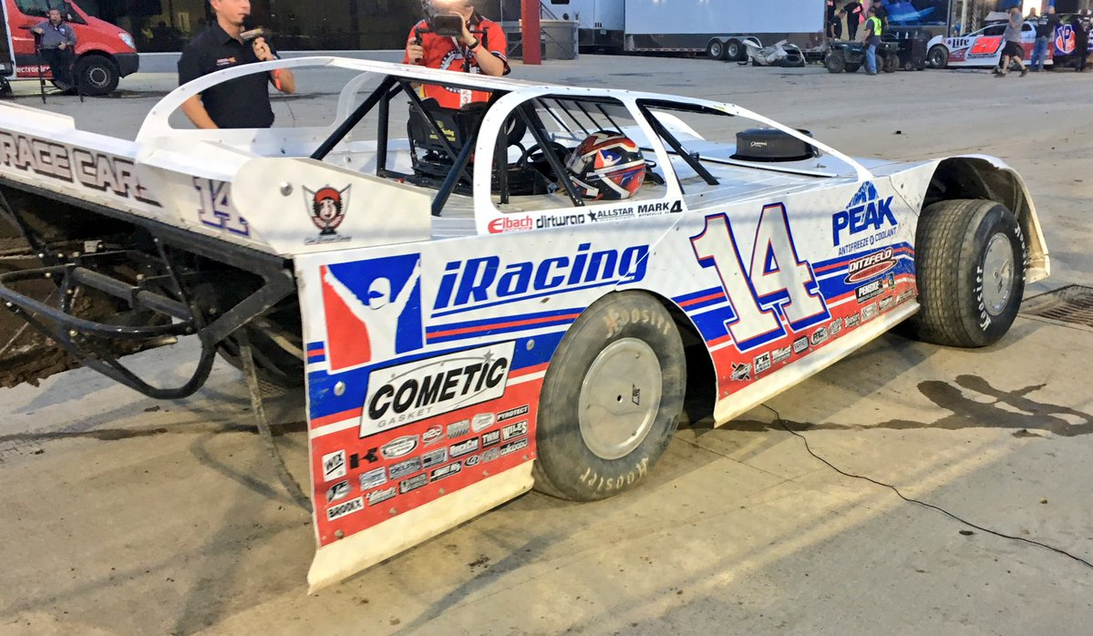Darrell Lanigan takes the pole in the Dirt Late Model Dream