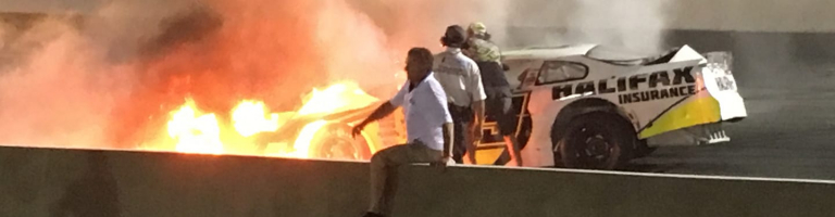 Father rescues son from burning race car at South Boston Speedway (VIDEO)