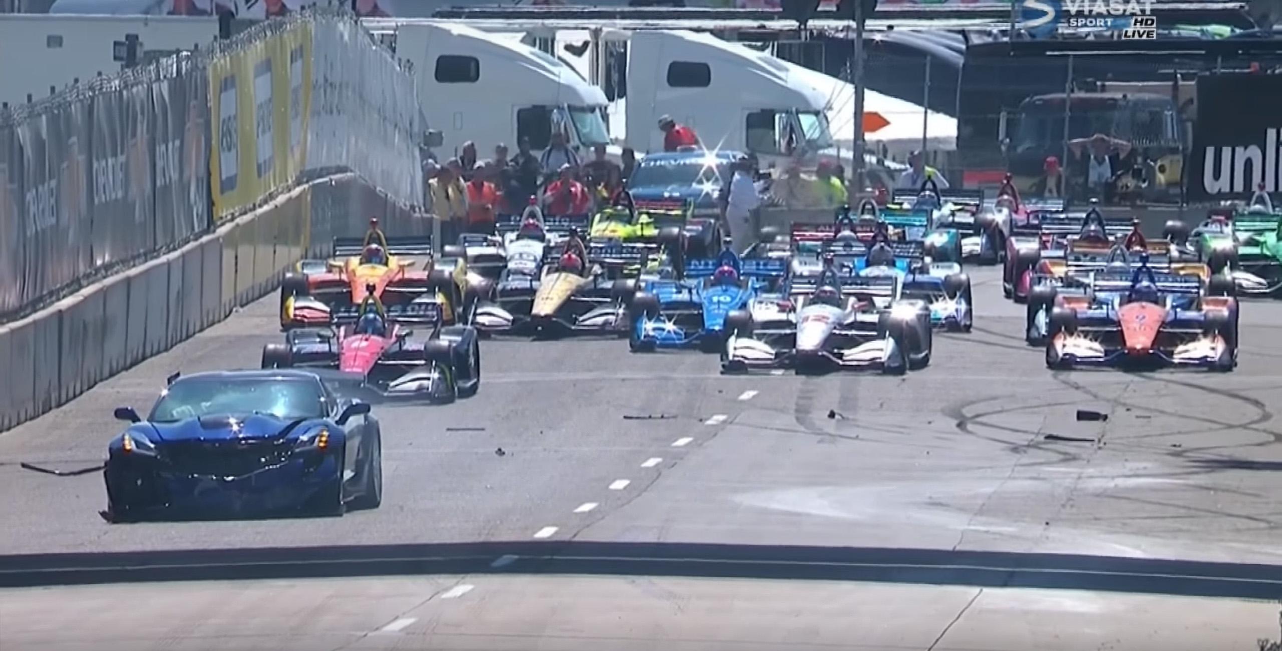 Indycar pace car crash video