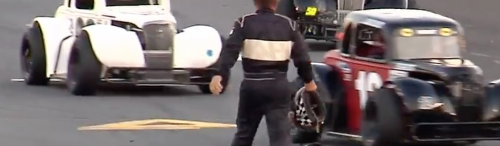 After breaking his own helmet, Legends driver then tosses it at competitor (Video)