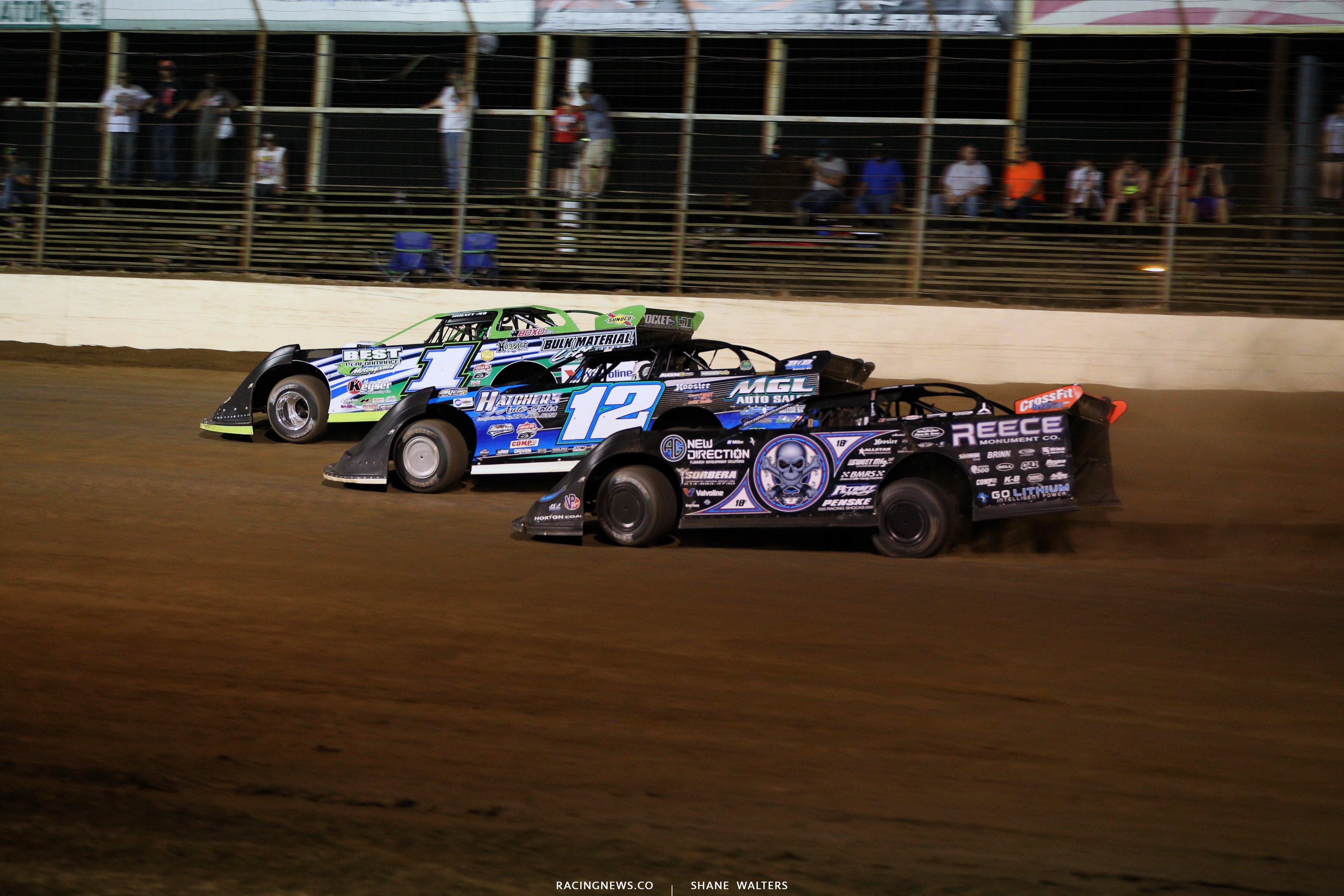 Josh Richards, Jason Jameson and Scott Bloomquist at Portsmouth Raceway Park 0084