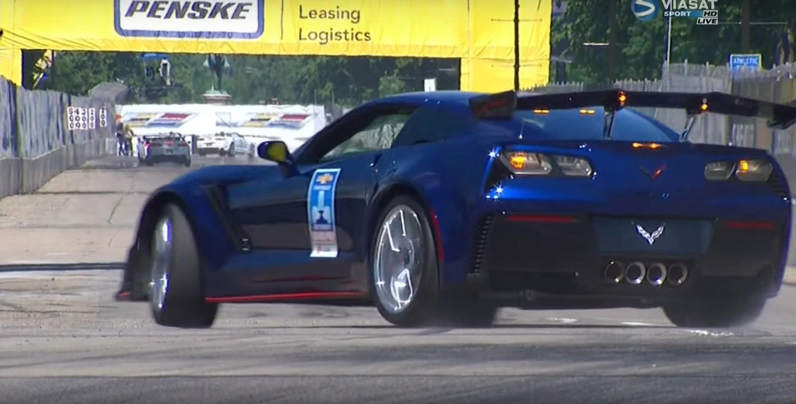 Mark Reuss Chevrolet Corvette pace car crash