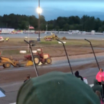 Runaway tractor at the dirt track