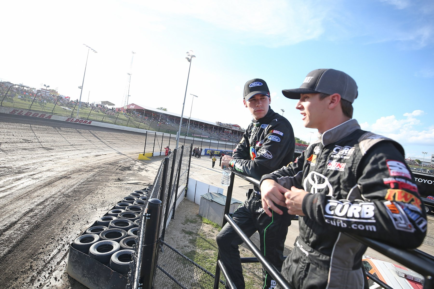 Ben Rhodes and Logan Seavey at Eldora Speedway