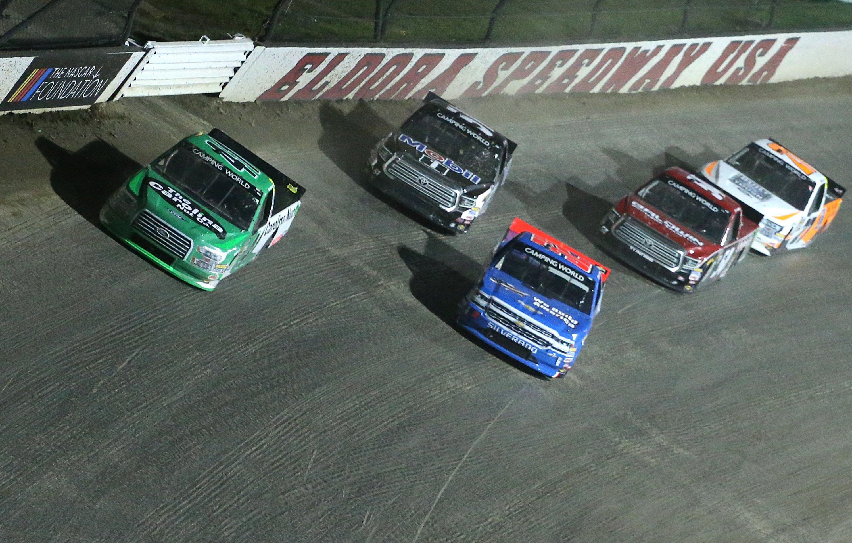 Ben Rhodes leads Stewart Friesen at Eldora Speedway