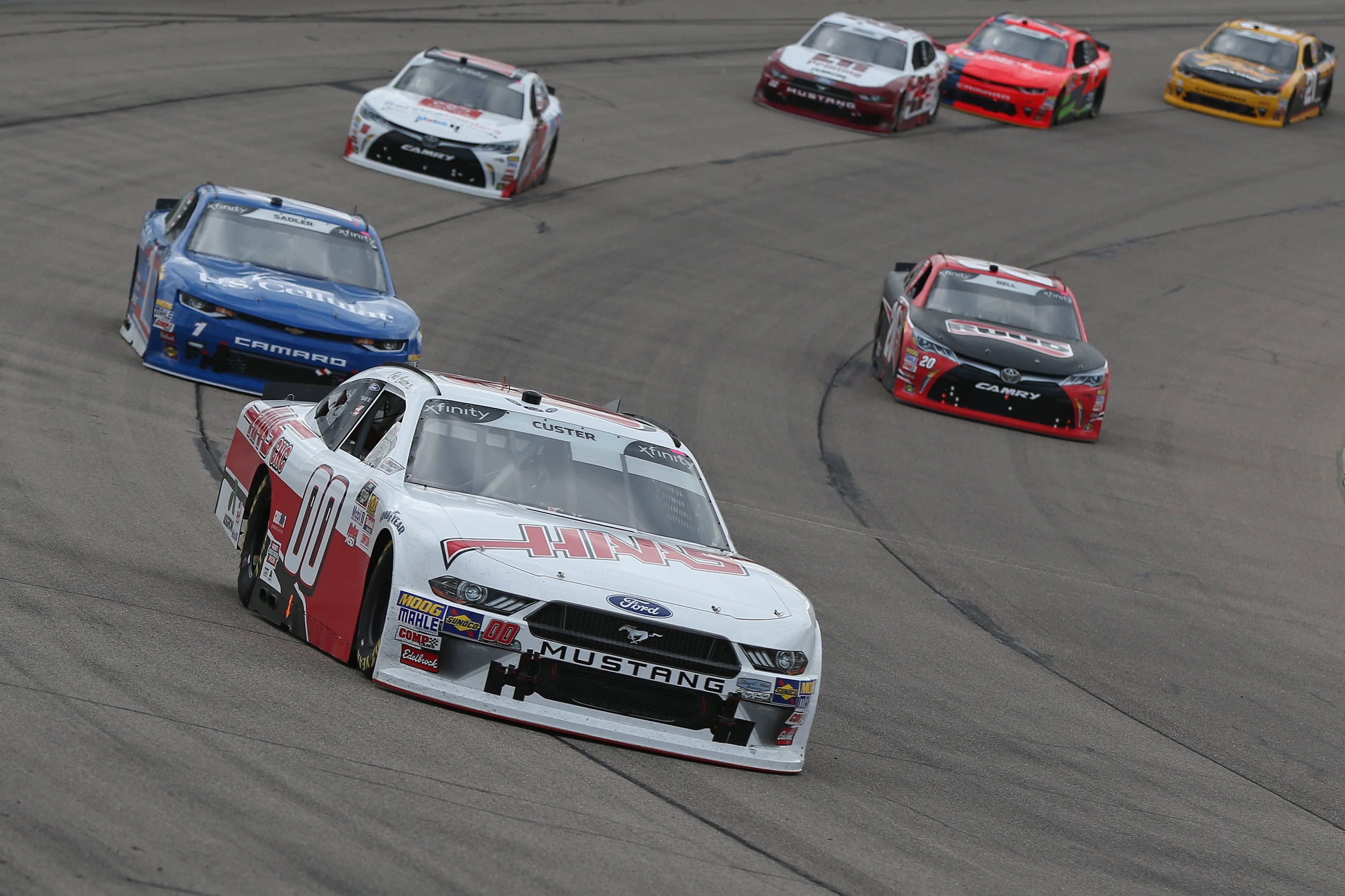 Cole Custer leads at Iowa Speedway
