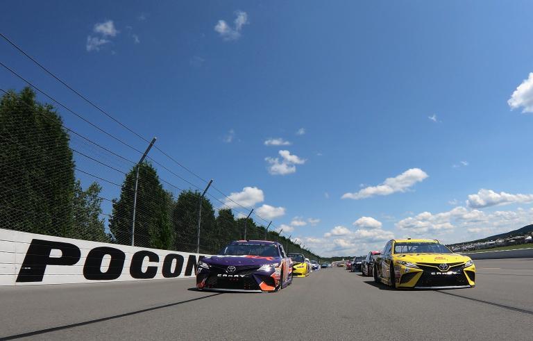 Daniel Suarez and Denny Hamlin at Pocono Raceway