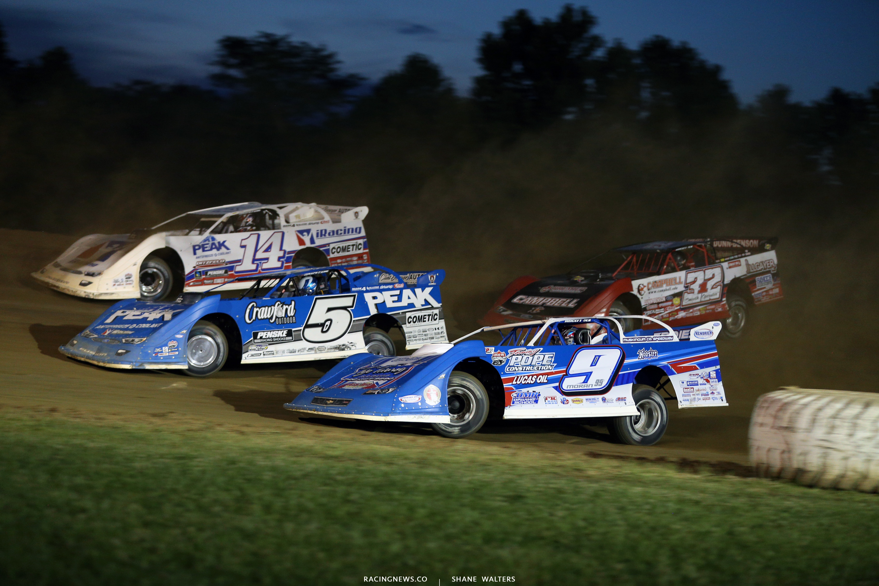 Devin Moran, Don O'Neal, Darrell Lanigan and Bobby Pierce at Muskingum County Speedway 1793