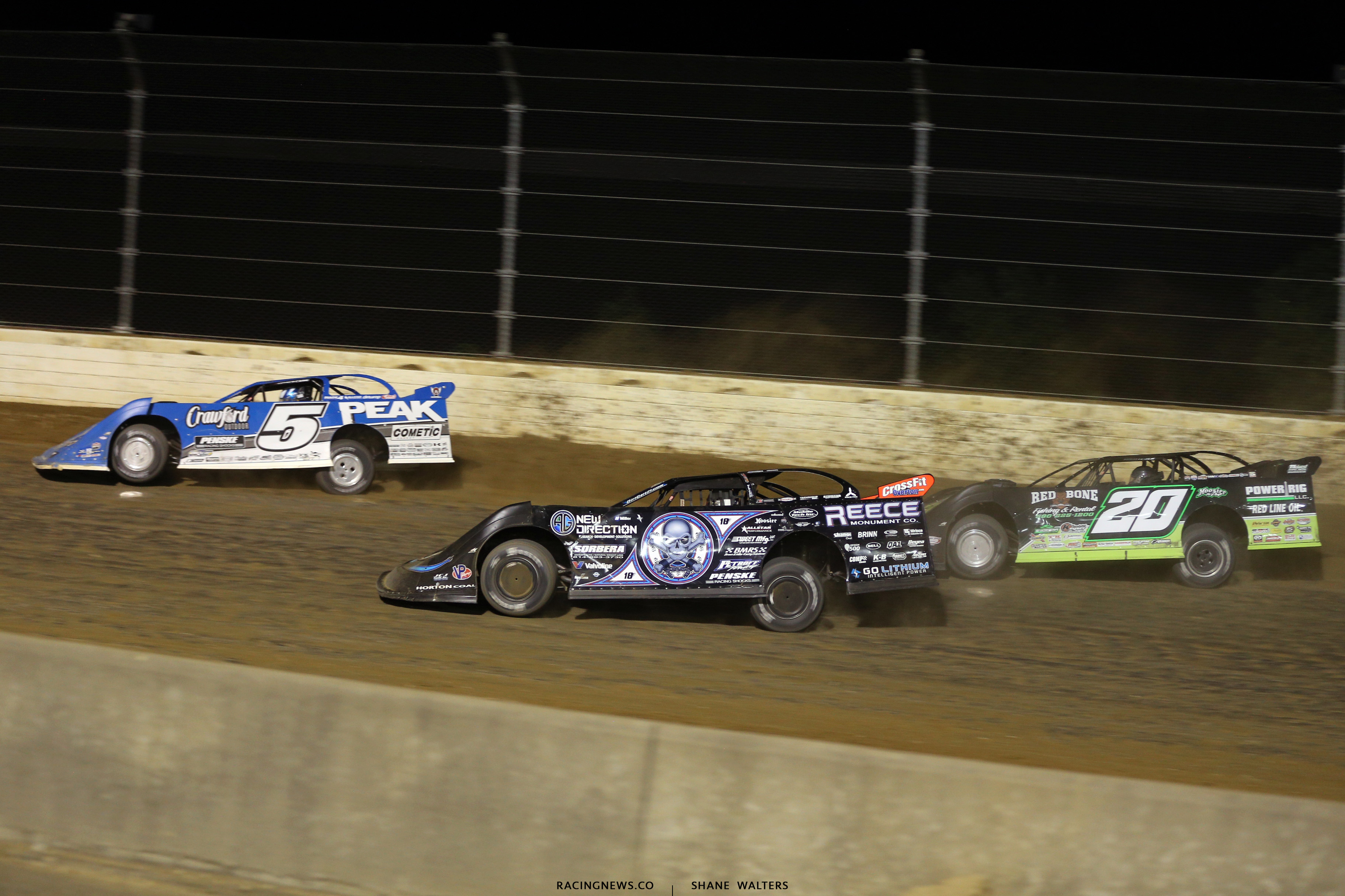 Don O'Neal, Scott Bloomquist and Jimmy Owens at Mansfield Motor Speedway 0871
