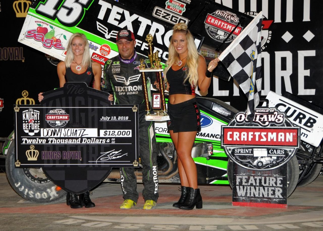 Donny Schatz in victory lane at Eldora Speedway