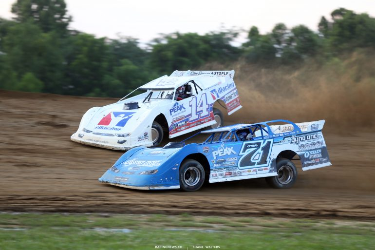 Hudson O'Neal and Darrell Lanigan at Muskingum County Speedway 1746
