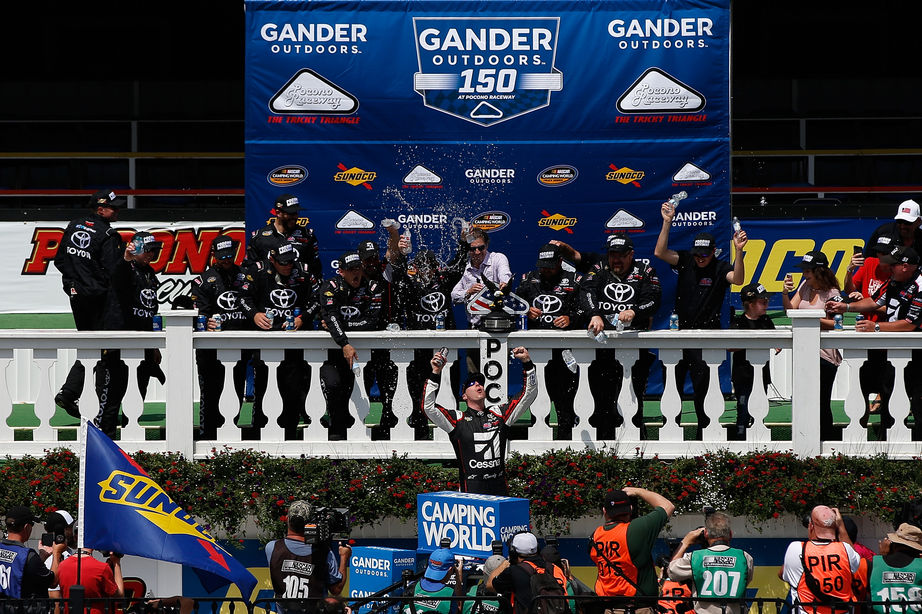 Kyle Busch wins the NASCAR Truck Series race at Pocono Raceway