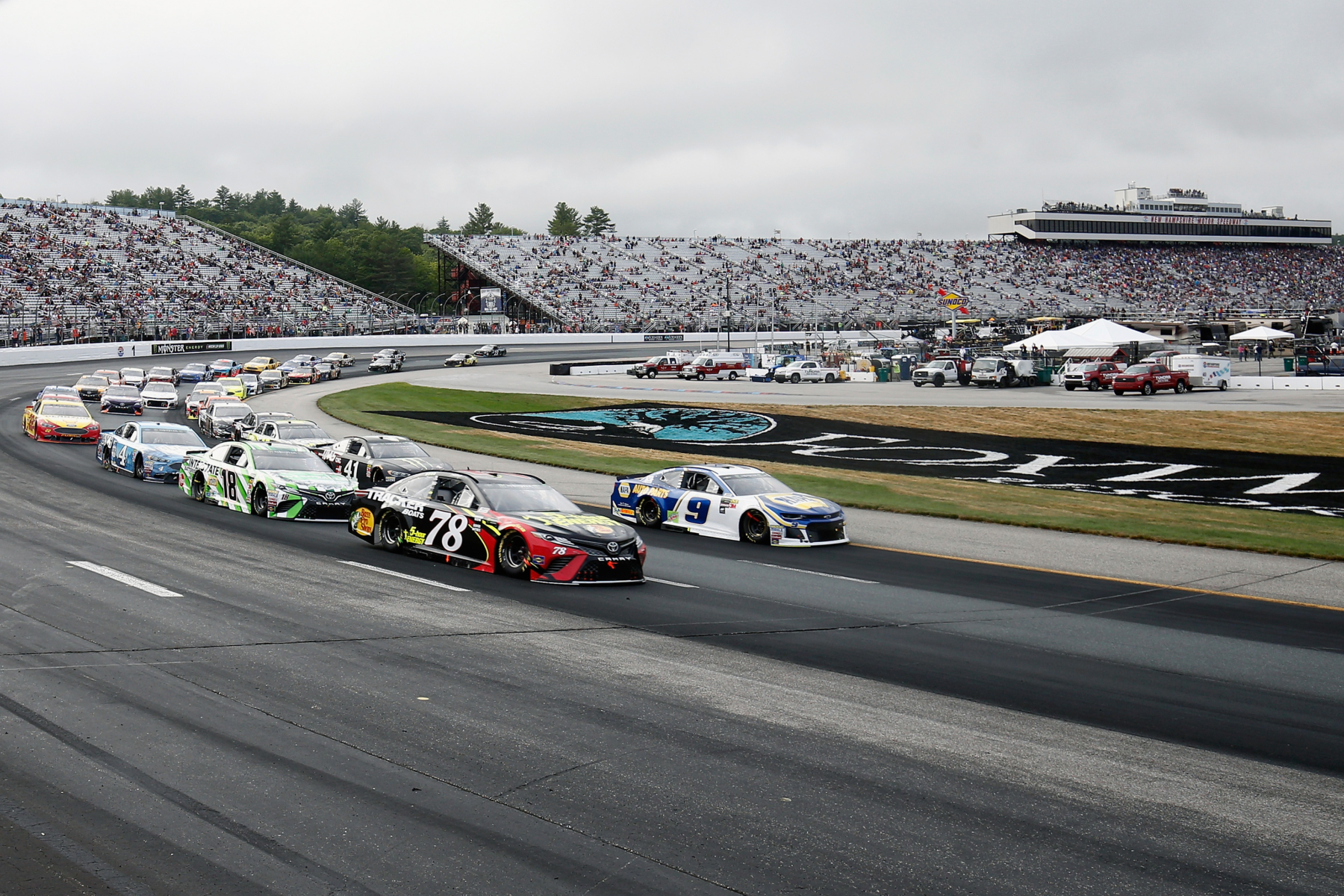 Martin Truex Jr, Chase Elliott, Kyle Busch and Kevin Harvick at New Hampshire Motor Speedway