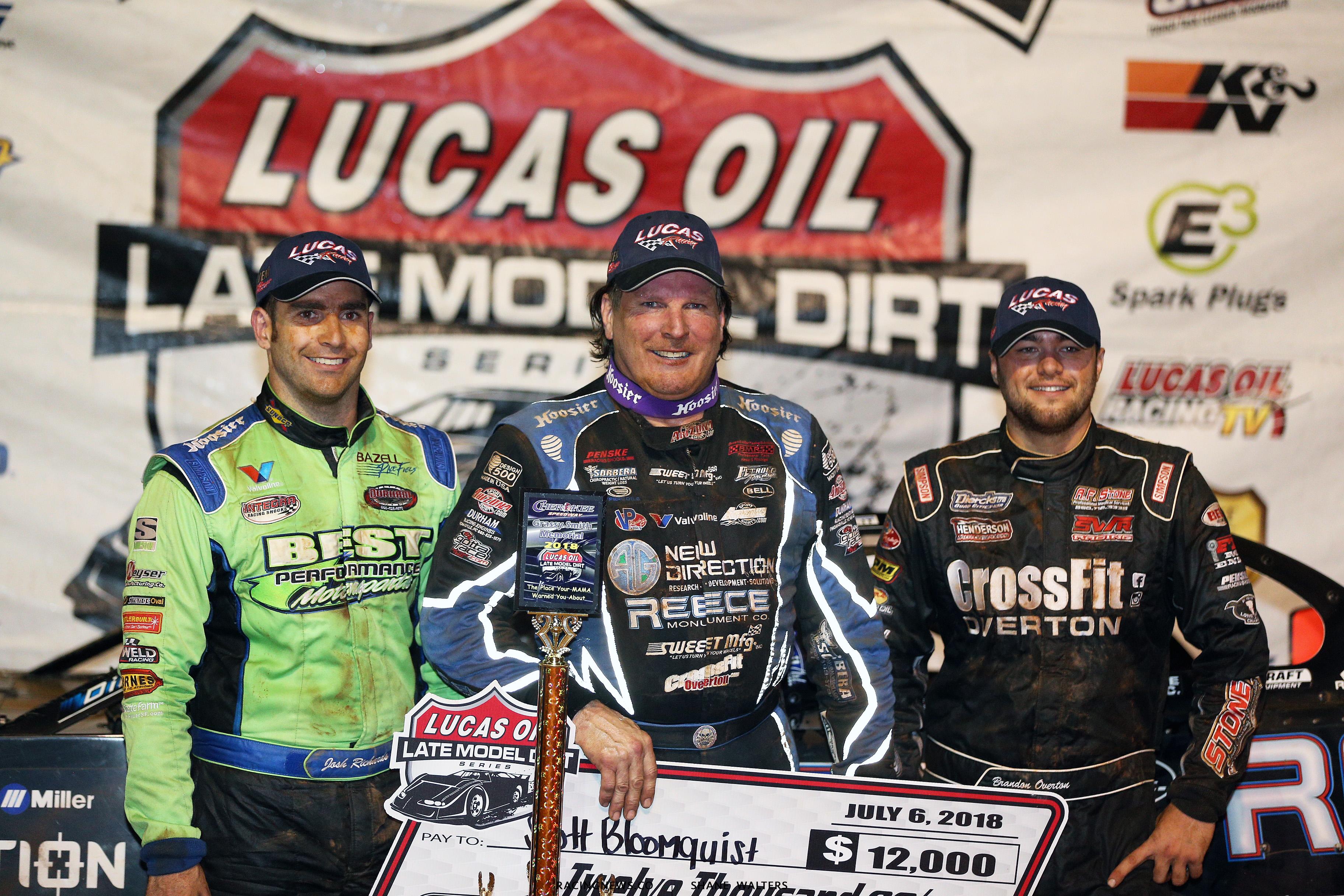 Scott Bloomquist, Brandon Overton and Josh Richards at Cherokee Speedway 2231