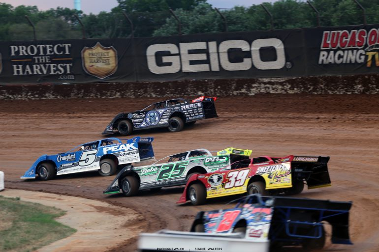 Scott Bloomquist, Don O'Neal, Chad Simpson and Tim McCreadie at Lucas Oil Speedway 2748