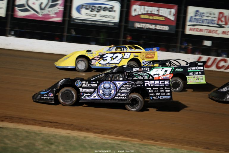 Scott Bloomquist, Jimmy Owens and Clay Daly at Lucas Oil Speedway