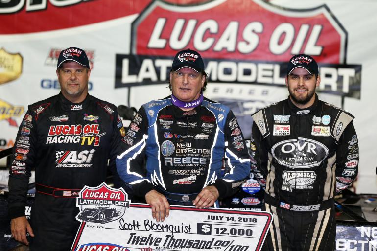 Scott Bloomquist, Mason Zeigler and Earl Pearson Jr at Lucas Oil Speedway 2903