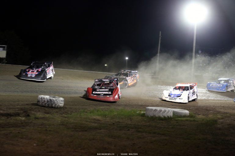 Scott Ward, Bobby Pierce, Ricky Weiss, Jonathan Davenport at Brown County Speedway 3131