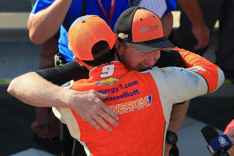 Chase Elliott and Bill Elliott after Chase picks up his first NASCAR Cup Series win