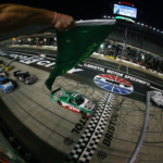 Christopher Bell leads them to green in the NASCAR Truck race at Bristol Motor Speedway