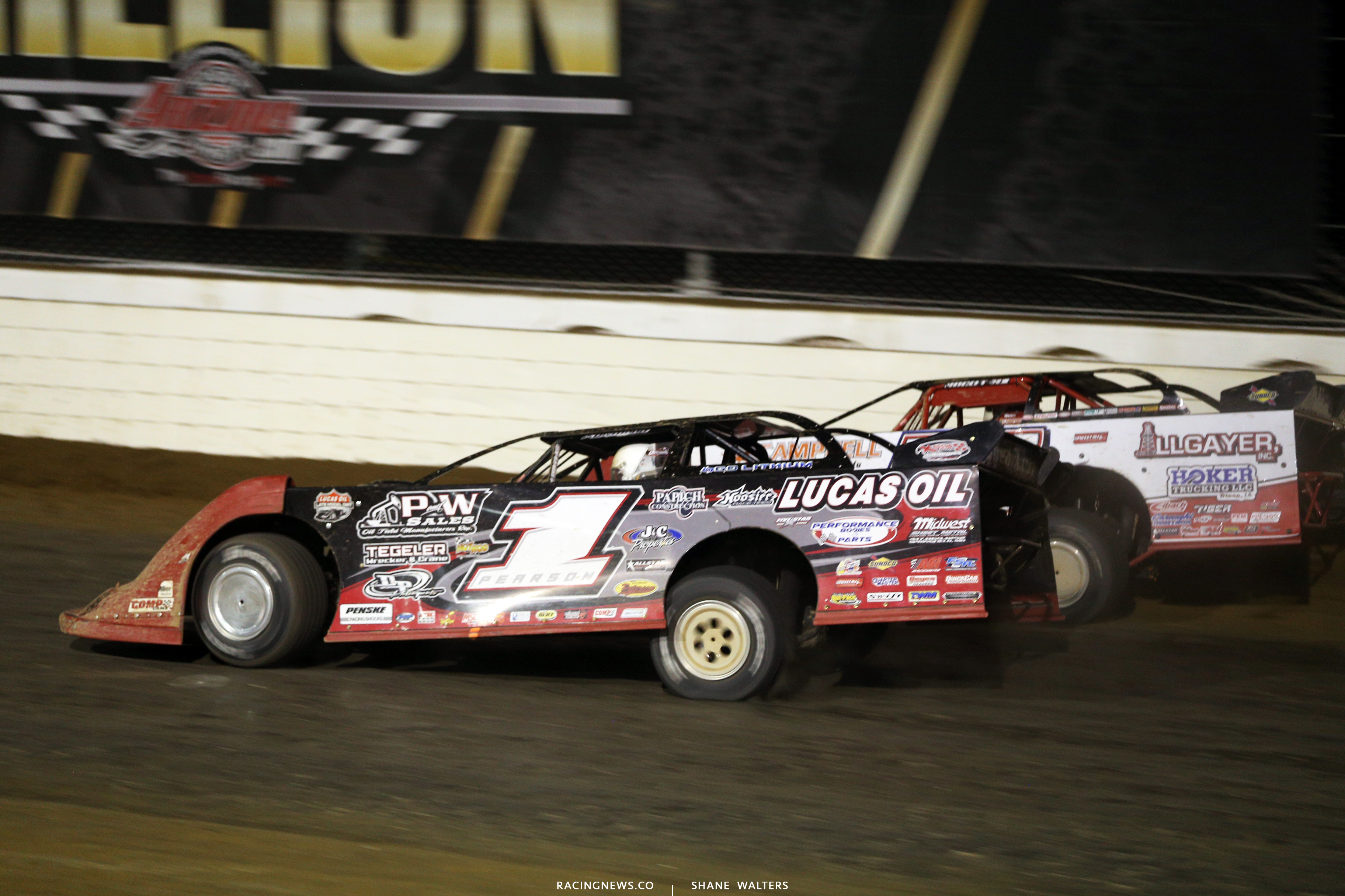 Earl Pearson Jr and Bobby Pierce in the Dirt Million at Mansfield Motor Speedway