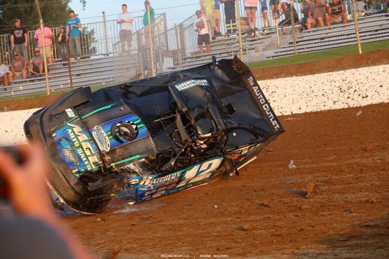 Jason Jameson - dirt late model crash sequence photos 4730