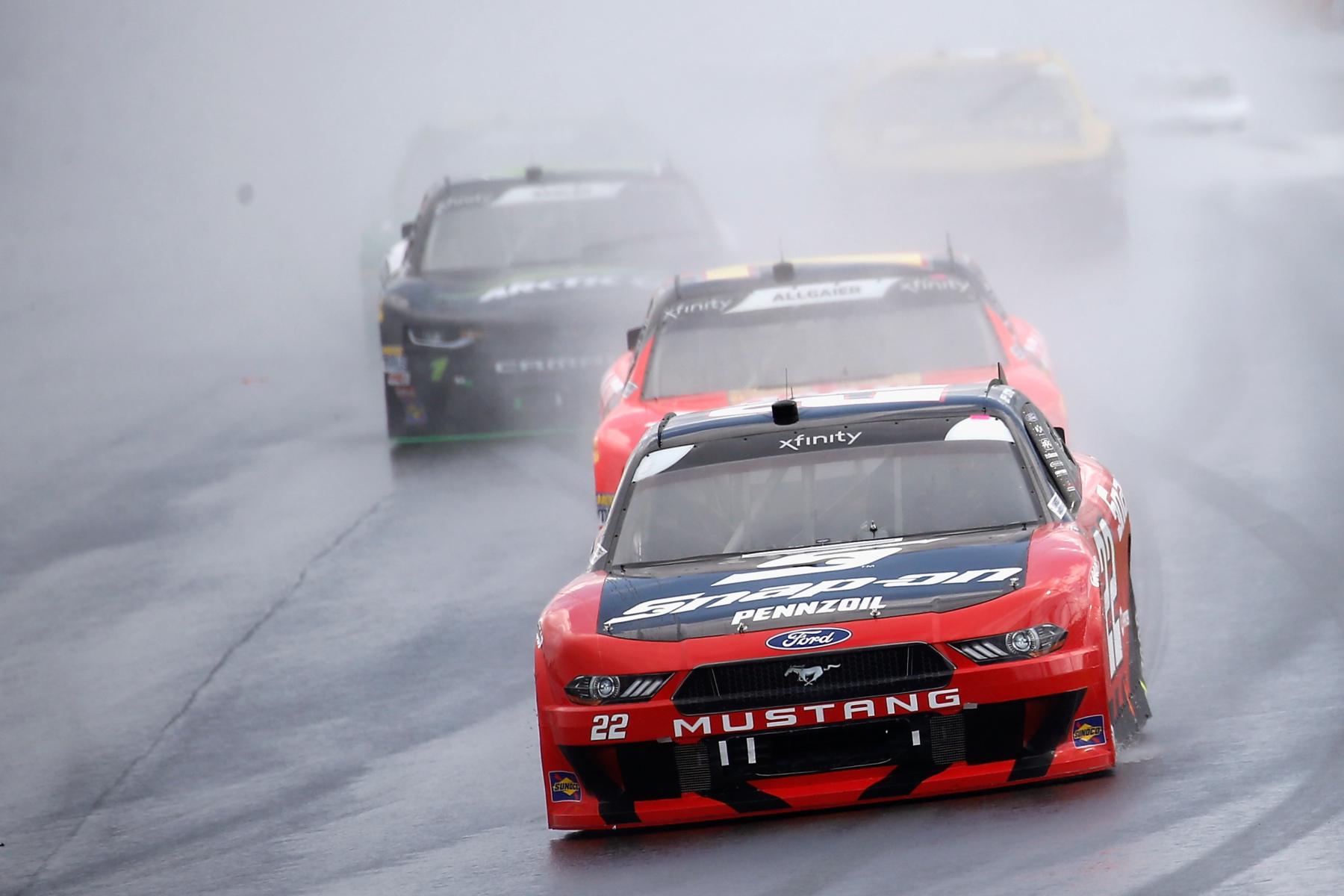 Joey Logano in the NASCAR rain race at Watkins Glen