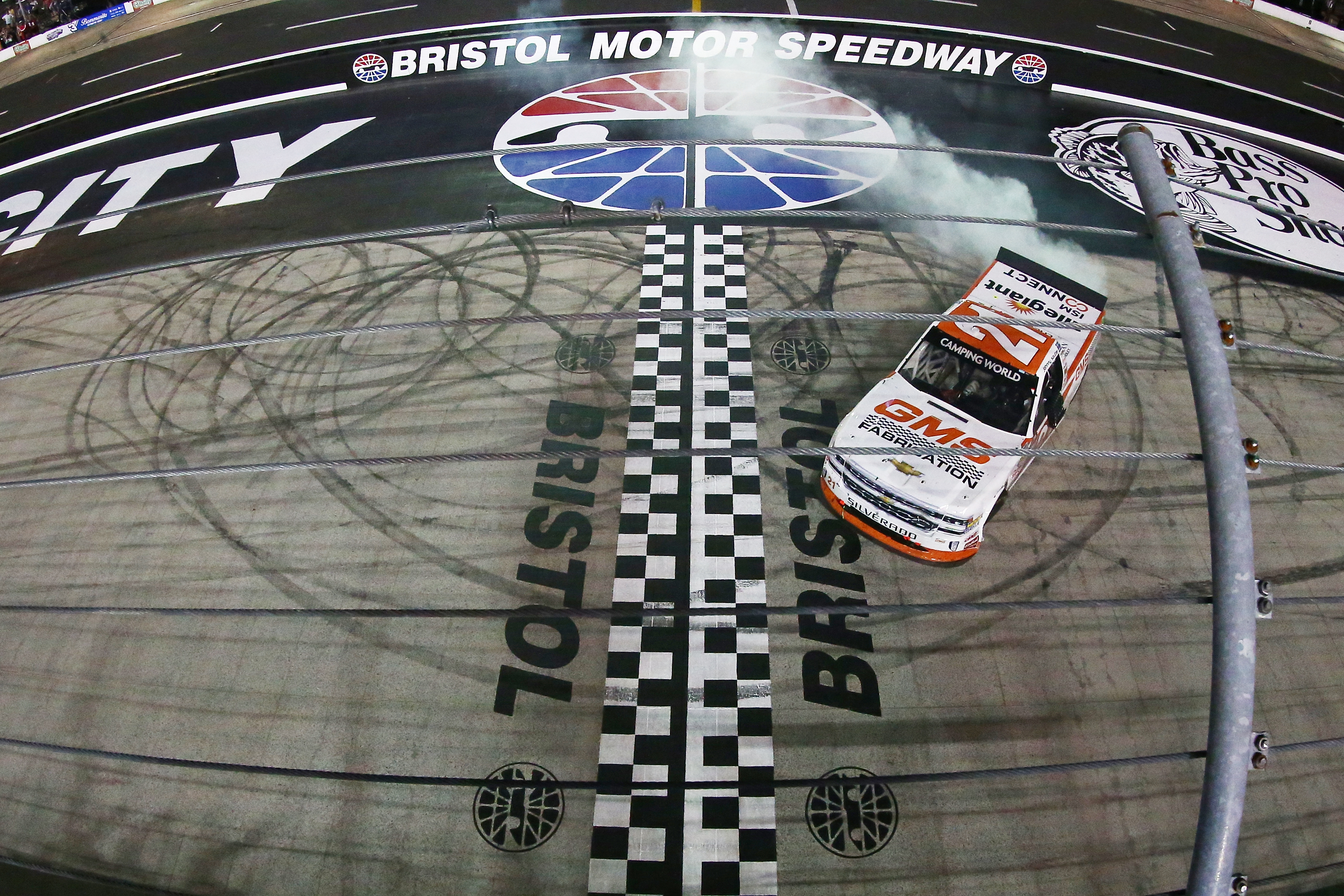 Johnny Sauter wins the NASCAR Truck race at Bristol Motor Speedway