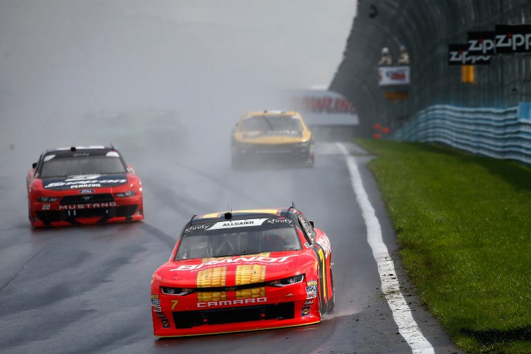 Justin Allgaier in the rain at Watkins Glen International