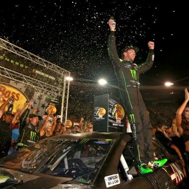 Kurt Busch in Monster Energy NASCAR Cup Series victory lane at Bristol Motor Speedway