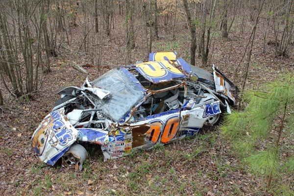 Michael McDowell 2008 Texas crash - Dale Jr's race car graveyard