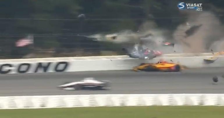 Robert Wickens indycar crash at Pocono Raceway