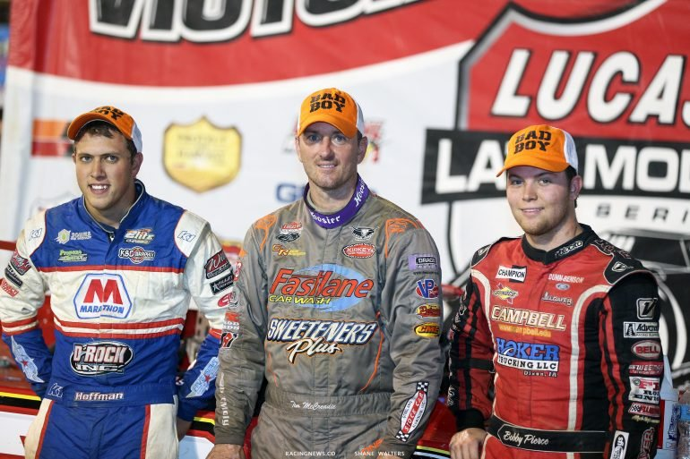 Tim McCreadie, Bobby Pierce and Nick Hoffman in Lucas Oil Late Model Dirt Series victory lane 5320