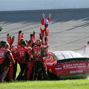 Jeremy Mayfield celebration - Michigan International Speedway 2005